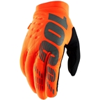100% Brisker Youth Full Finger Gloves: Fluo Orange/Black