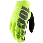 100% Brisker Youth Full Finger Gloves: Fluo Yellow