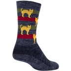 SockGuy Wool Catz Socks - 6 inch, Gray/Yellow/Red