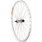 "Quality Wheels Pavement Rear Rim Brake Wheel 26"" 36h Shimano LX 10s /  Velocity Aeroheat / DT Champion All Silver"