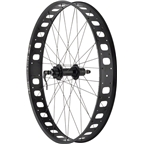 "Quality Wheels Rear Wheel Fat Disc 27.5"" 170mm QR and 177mm x 12mm Convertible Shimano 32h Formula / Sun Mulefut 80 Tubeless Black"