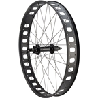 "Quality Wheels Rear Wheel Fat Disc 27.5"" 190mm QR and 197mm x 12mm Convertible Shimano 32h Formula / Sun Mulefut 80 Tubeless Black"