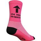 """SockGuy I'm With Awesome 6"""" Crew Pink"""