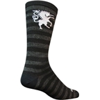 "SockGuy Wool Medieval Unicorn 8"" Crew Sock: Black/Gray"