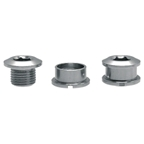 Problem Solvers aluminum single chainring bolt/nut set; Silver; Set of 5