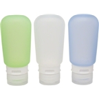 Humangear GoToob Large 3-Pack Silicone Bottles: 3oz; Clear/Green/Blue