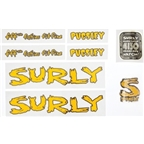 Surly Pugsley Frame Decal Set with Headbadge: Yellow