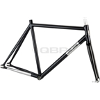 All-City Aluminum Thunderdome Frameset Black with Polished Downtube and Chainstays