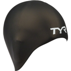 TYR Long Hair Silicon Swim Cap; Black