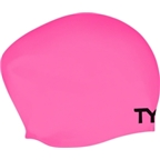 TYR Long Hair Silicon Swim Cap; Pink
