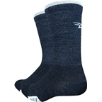 DeFeet Cyclismo Merino Wool Sock: Charcoal White Stripe