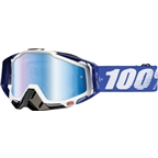 100% Racecraft Goggle, Cobalt Blue with Mirror Blue Lens, Spare Clear Lens Included