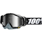 100% Racecraft Goggle, Abyss Black with Mirror Silver Lens, Spare Clear Lens Included