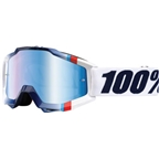 100% Accuri Goggle, White Crystal with Mirror Blue Lens, Spare Clear Lens Included