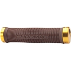 Chromag Squarewave Grips: Brown Grips Gold Clamps