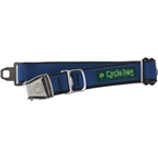 Cycle Dog Latch-Lock Dog Collar: Metal Buckle Reflective Blue LG