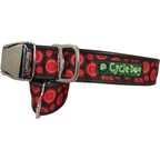 Cycle Dog Latch-Lock Dog Collar: Metal Buckle Red Space Dot