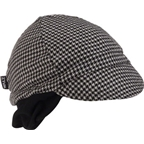 Walz Wool Ear Flap Cycling Cap: Black Houndstooth