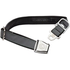 Cycle Dog Latch-Lock Dog Collar: Metal Buckle Silver Reflective Medium