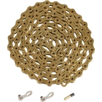 YBN Ti-Nitride Gold 11-speed Chain, 116 Links, 5.5mm Wide with One Reusable QRS Master Link