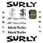 Surly World Troller Frame Decal Set with Headbadge Black