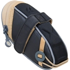 Detours Wedgie Seat Bag: MD Black/Tan Coated