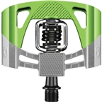Crank Brothers Mallet 2 Pedals: Raw/Green with Black Spring