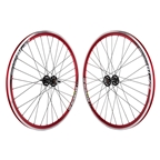 Wheel Master Wei DP18 700c 32 Hole SS-1100 Fixed Gear Anodized Red Wheel Set