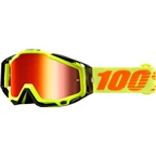 100% Racecraft Goggle: Attack Yellow with Mirror Red Lens, Spare Clear Lens Included