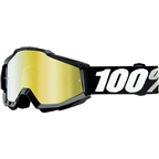 100% Accuri Goggle, Black Tornado with Mirror Gold Lens, Spare Clear Lens Included