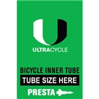 "Ultracycle 26 x 4"" Presta Valve Tube"
