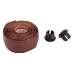 Origin8 Handlebar Tape Clasiq Sport Dark Brown Leather Tape with Plugs
