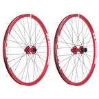 Spank Spoon 32 26 DJ Wheelset 15/20mm Front 135x12mm Rear Steel Shimano Freehub, Red