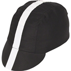 Pace Sportswear Classic Cycling Cap: Black with White Tape, XL