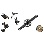 SRAM XX1 Eagle Drive Train Kit-In-A-Box GXP Boost 148 175mm 32T, Trigger Shifter, Level Ultimate Brakes, Gold Logos and Cassette, No Rotors