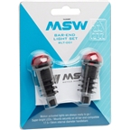 MSW Bar End Lightset with Motion Sensor: Black/Red