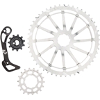 Wolf Tooth Components WolfCage Combo Pack: Includes 49T Cog, 18T Cog, and Derailleur Cage, Silver