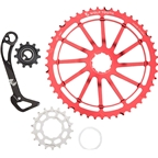 Wolf Tooth Components WolfCage Combo Pack: Includes 49T Cog, 18T Cog, SGS Adaptor Cage for XT8000, Red