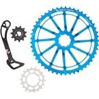 Wolf Tooth Components WolfCage Combo Pack: Includes 49T Cog, 18T Cog, SGS Adaptor Cage for XT8000, Blue