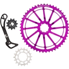 Wolf Tooth Components WolfCage Combo Pack: Includes 49T Cog, 18T Cog, SGS Adaptor Cage for XT8000, Purple