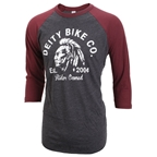 Deity Riders 3/4 Raglan Shirt Black With Burgundy - XL