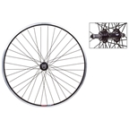 "Wheel Master 26"" Silver and Black 36 Hole Rear Wheel For 5/6/7 Speed Freewheels"