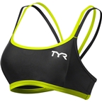TYR Competitor Thin Strap Women's Bra: Black/Lime