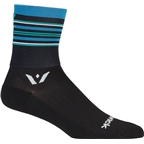 Swiftwick Aspire Stripe Four Sock: Black/Steel Blue