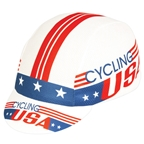 Pace Sportswear Cycling USA Coolmax Cap, Red/White/Blue- One Size