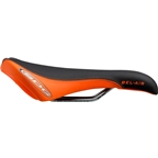 SDG Bel-Air RL Saddle: Solid Chromoly Rails, Black Synthetic Top with Orange Synthetic Sides