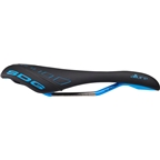 SDG Allure Women's Saddle: Ti-Alloy Rails, Black Microfiber with Cyan Accents and Painted Rails