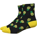 Defeet Aireator Pineapple Women's Sock: Black/Green/Yellow