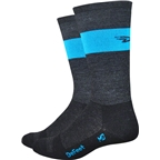 Defeet Wooleator Team Sock: Charcoal Gray/Hi-Vis Process Blue