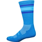 Defeet D-Evo Crew Sock: Process Blue/Blue Stripes